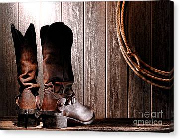 Spurs On Cowboy Boots Heels Canvas Print by Olivier Le Queinec