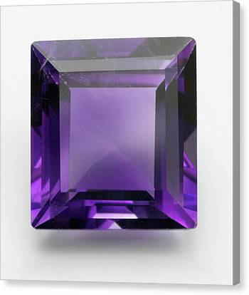 Square Cut Purple Amethyst Gemstone Canvas Print by Dorling Kindersley/uig