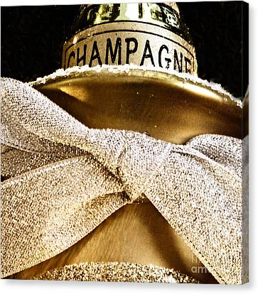 Square Gold Champagne Ornament Canvas Print by Birgit Tyrrell