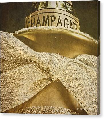 Square Gold Vintage Champagne Ornament Canvas Print by Birgit Tyrrell