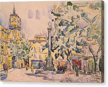 Square Of The Hotel De Ville Canvas Print by Paul Signac