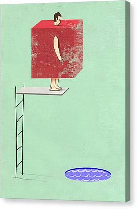 Swim Canvas Print - Square Peg Round Pool by Steve Dininno