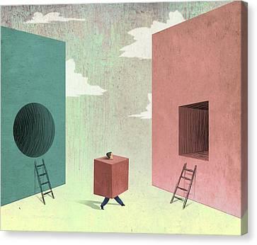Square Peg Canvas Print by Steve Dininno