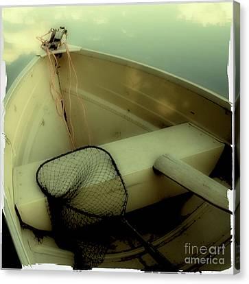 Square Polaroid Fishing Boat Canvas Print by Birgit Tyrrell