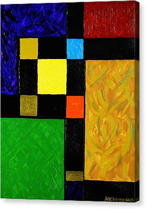 Red Green And Gold Abstracts Canvas Print - Squared by Celeste Manning