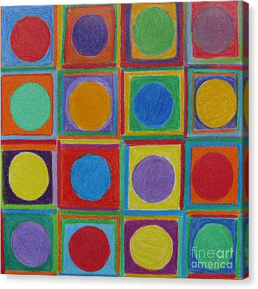 Canvas Print featuring the drawing Squares And Circles by Patricia Januszkiewicz