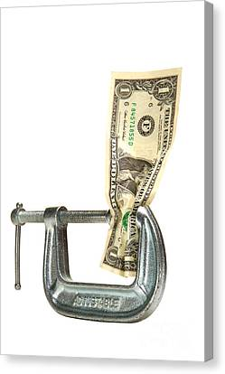 Squeezing The Dollar Canvas Print by Olivier Le Queinec