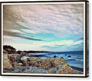 Squibby Cliffs And Mackerel Sky Canvas Print by Kathy Barney