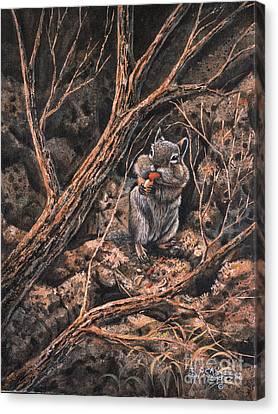 Squirrel-ly Canvas Print by Ricardo Chavez-Mendez