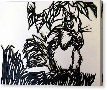 Squirrel Paper Cut Canvas Print