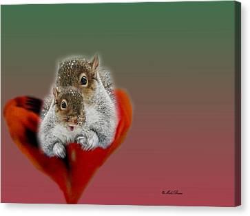 Squirrels Valentine Canvas Print