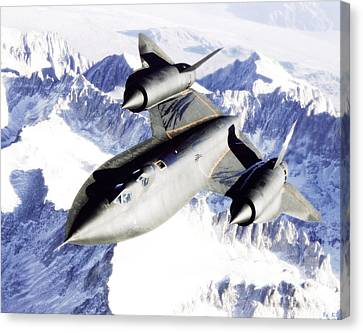 Sr-71 Over Snow Capped Mountains Canvas Print by R Muirhead Art