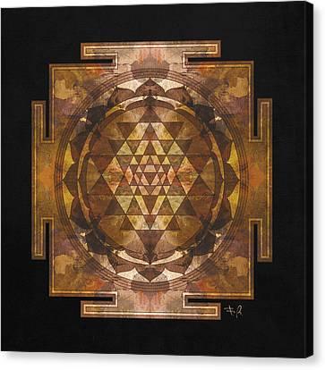 Universe Canvas Print - Sri Yantra Gold by Filippo B