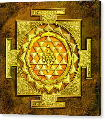 Durga Canvas Print - Sri Yantra Gold Stone by Lila Shravani