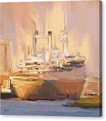 Canvas Print featuring the painting Ss Rotterdam In Autumn Light by Nop Briex