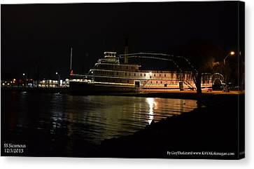 Canvas Print featuring the photograph Ss Sicamous - Night Shot by Guy Hoffman
