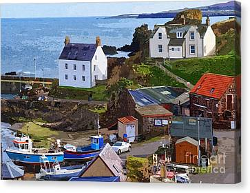 St. Abbs Harbour - Photo Art Canvas Print by Les Bell