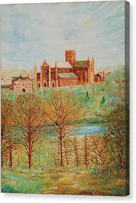Canvas Print featuring the painting St Albans Abbey - Autumn View by Giovanni Caputo