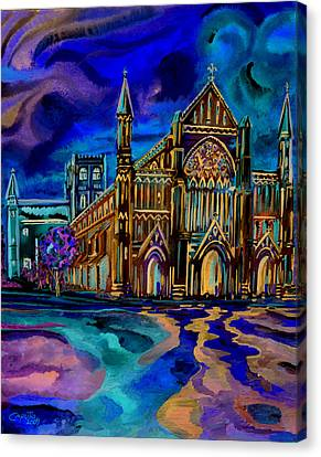 Canvas Print featuring the digital art St Albans Abbey - Night View by Giovanni Caputo