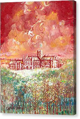 Canvas Print featuring the painting St Albans Abbey - Stormy Weather by Giovanni Caputo