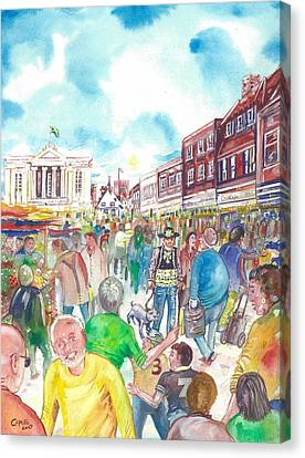 Canvas Print featuring the painting St Albans - Market People by Giovanni Caputo