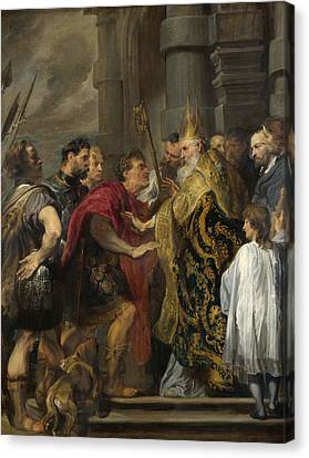 St. Ambrose Barring Theodosius From Milan Cathedral Canvas Print by Anthony van Dyck