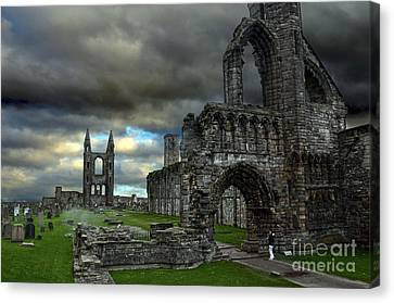 St Andrews Cathedral And Gravestones Canvas Print