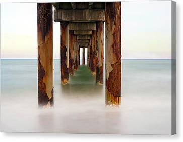 St. Augustine Beach Pier Canvas Print by Marion Johnson