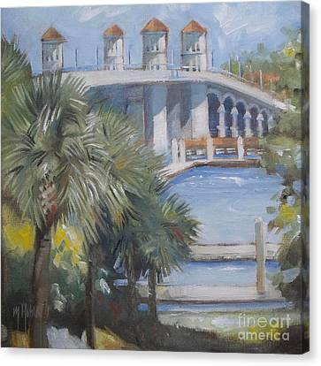 St Augustine Bridge Of Lions Canvas Print by Mary Hubley