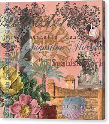 Spanish Fort Canvas Print - St. Augustine Florida Vintage Collage by Mary Hubley