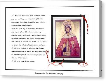 St. Barbara Protector From All Harm - Prayer - Petition Canvas Print by Barbara Griffin