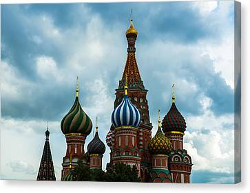 St. Basil's Cathedral On The Red Square Of Moscow City - Featured 3 Canvas Print by Alexander Senin