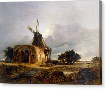 St Benets Abbey And Mill, Norfolk, 1833 Canvas Print by William James Muller