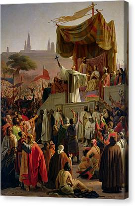 St Bernard Preaching The Second Crusade In Vezelay Canvas Print by Emile Signol