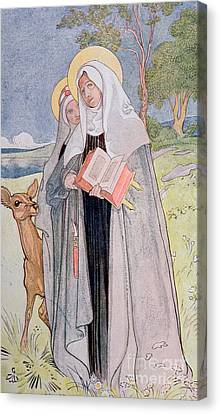 St Bridget Of Sweden Canvas Print by Carl Larsson