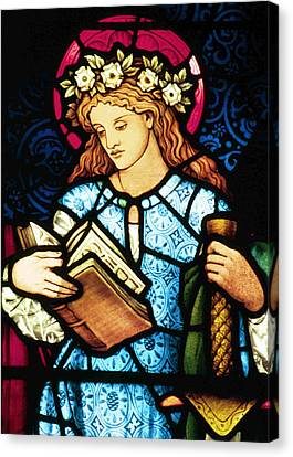 St Catherine Of Alexandria In Stained Glass Canvas Print by Philip Ralley