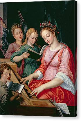 Patron Of Musicians Canvas Print - Saint Cecilia Accompanied By Three Angels by Michiel I Coxie or Coxcie