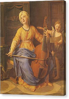 St. Cecilia Oil On Canvas Canvas Print by Nicolas Colombel