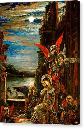 St Cecilia The Angels Announcing Her Coming Martyrdom Canvas Print by Gustave Moreau