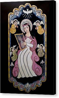 Patron Of Musicians Canvas Print - St. Cecilia With Harp And Angels by Ellen Chavez de Leitner