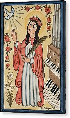 Hymn Canvas Print - St. Cecilia With Organ And Dove by Ellen Chavez de Leitner