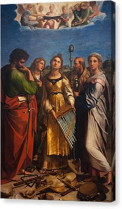St. Cecilia With Sts. Paul John Augustine And Mary Magdalene Canvas Print by Raffaello Sanzio