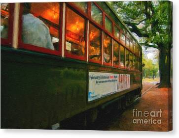 St. Charles Ave Streetcar Whizzes By - Digital Art Canvas Print by Kathleen K Parker