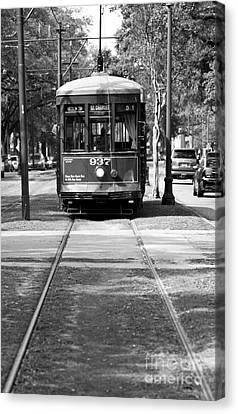 St Charles Avenue Trolley Train Rolling Through The Garden Distr Canvas Print by ELITE IMAGE photography By Chad McDermott
