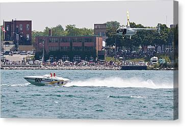 St. Clair Michigan Usa Power Boat Races-4 Canvas Print by Paul Cannon