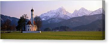 Snow-covered Landscape Canvas Print - St Coloman Church And Alps Schwangau by Panoramic Images