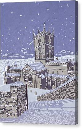 St David S Cathedral In The Snow Canvas Print