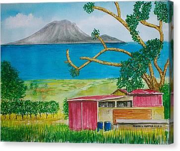 St. Eustatis From St. Kitts Canvas Print by Frank Hunter