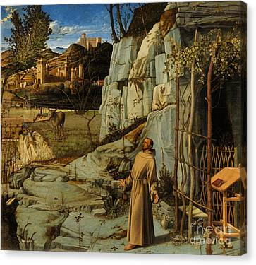 St Francis Of Assisi In The Desert Canvas Print by Giovanni Bellini