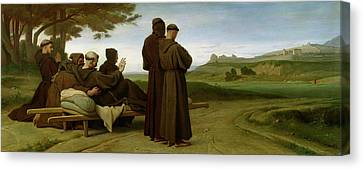 Saint Francis Of Assisi, While Being Carried To His Final Resting Place At Saint-marie-des-anges Canvas Print by Francois Leon Benouville